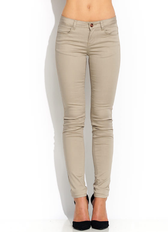 Get Jegging Wit It Skinny Pants KHAKI