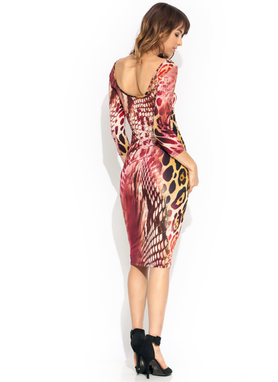 All The Wild Bodycon Midi Dress BURGMULTI