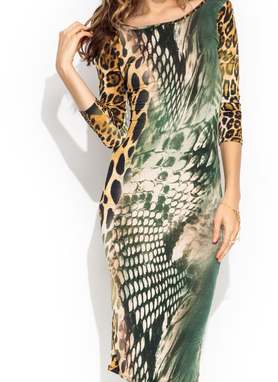 All The Wild Bodycon Midi Dress OLIVEMULTI