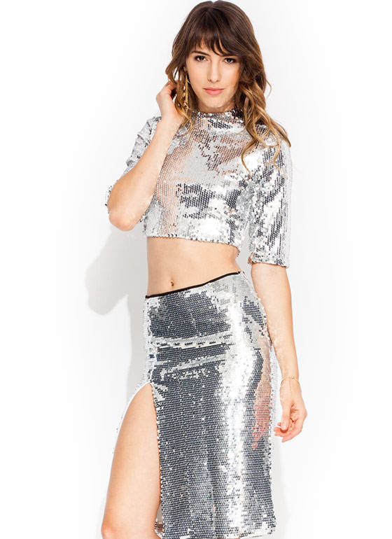 Disco Inferno Mockneck Top SILVER