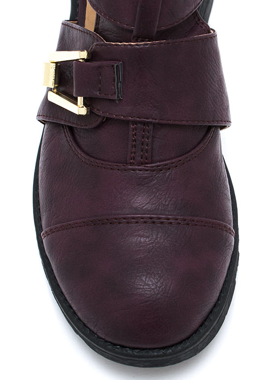 Heavy Metal Buckled Ankle Boots PURPLE