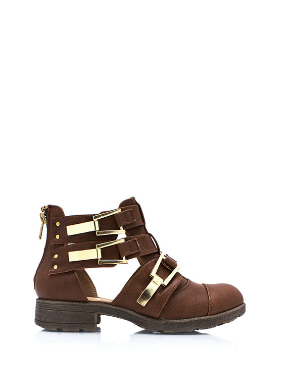 Heavy Metal Buckled Ankle Boots TAN