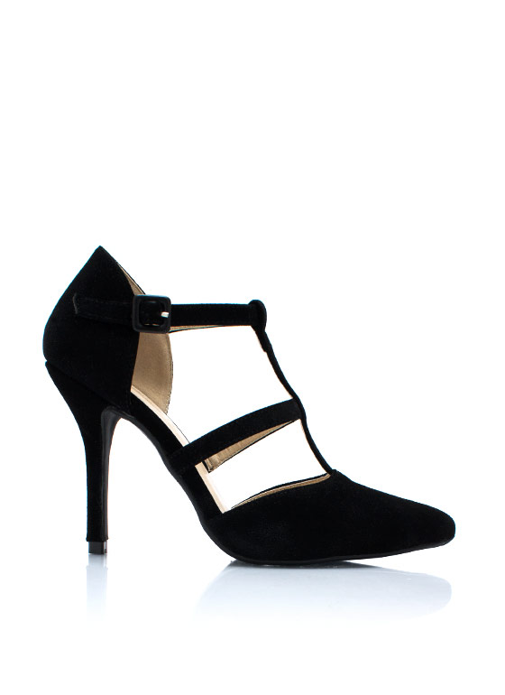 Pointy Windowpane Pumps BLACK