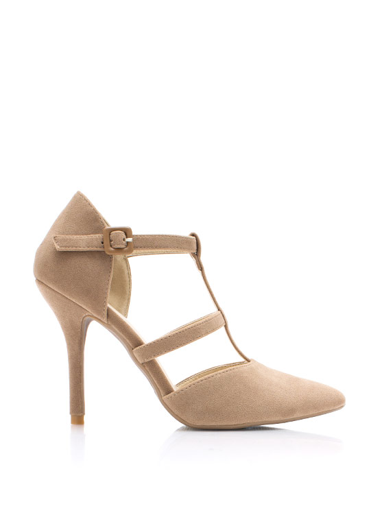 Pointy Windowpane Pumps CAMEL