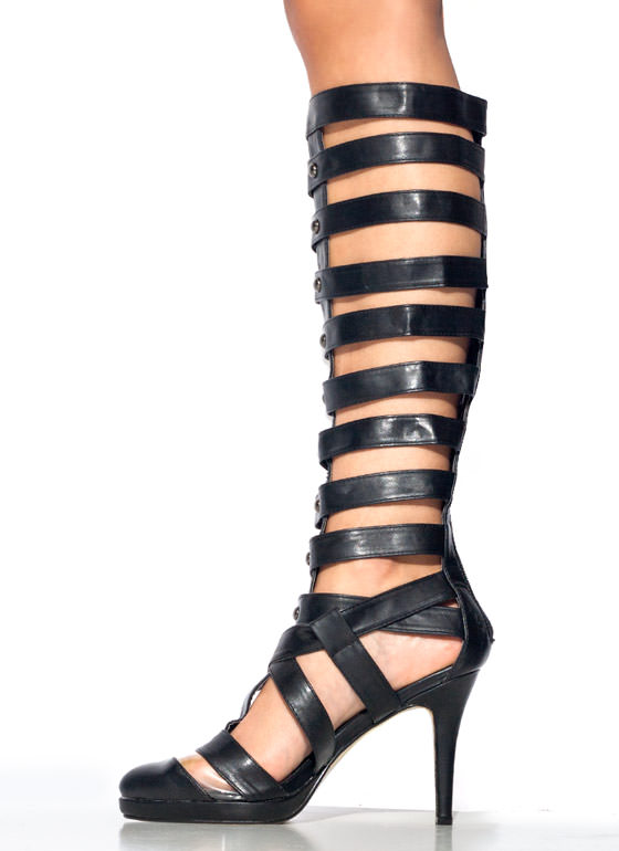 Strap Star Gladiator Heels BLACK