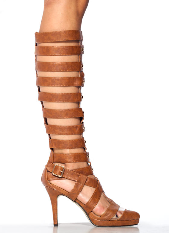 Strap Star Textured Gladiator Heels TAN