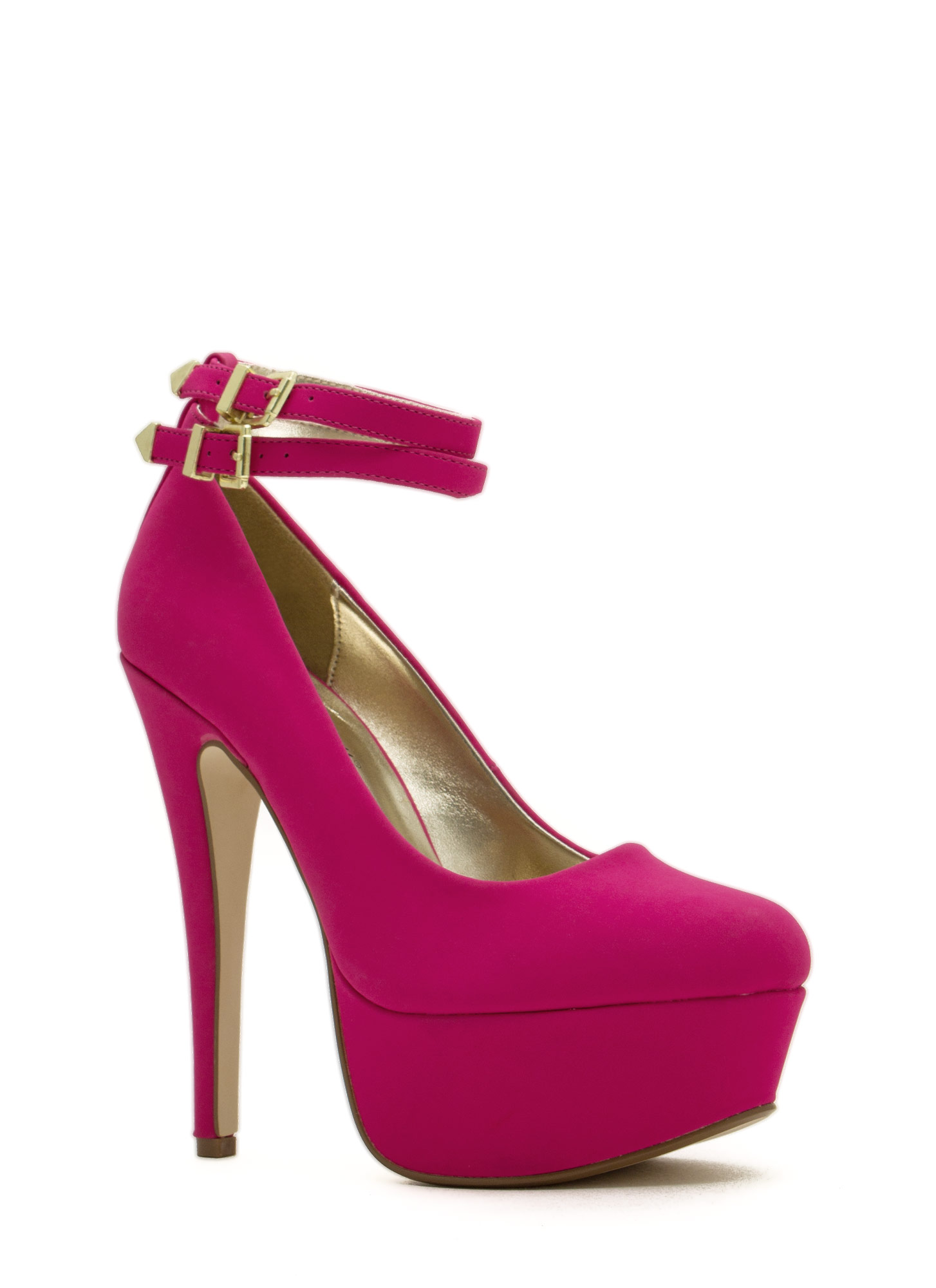 Twice As Nice Buckled Platforms MAGENTA