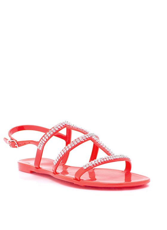 Sparkly Ladder Strap Jelly Sandals CORAL