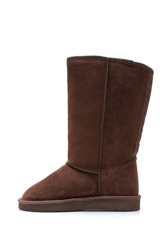 Plain And Tall Faux Shearling Boots BROWN