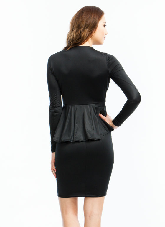 Plunge Into Peplum Midi Dress BLACK