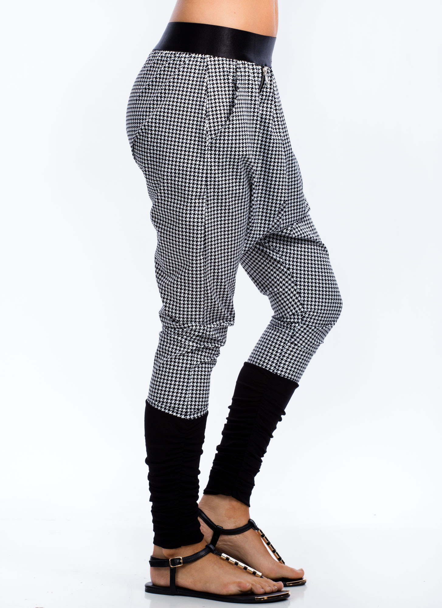 Zippy Houndstooth Harem Pants BLACKWHITE