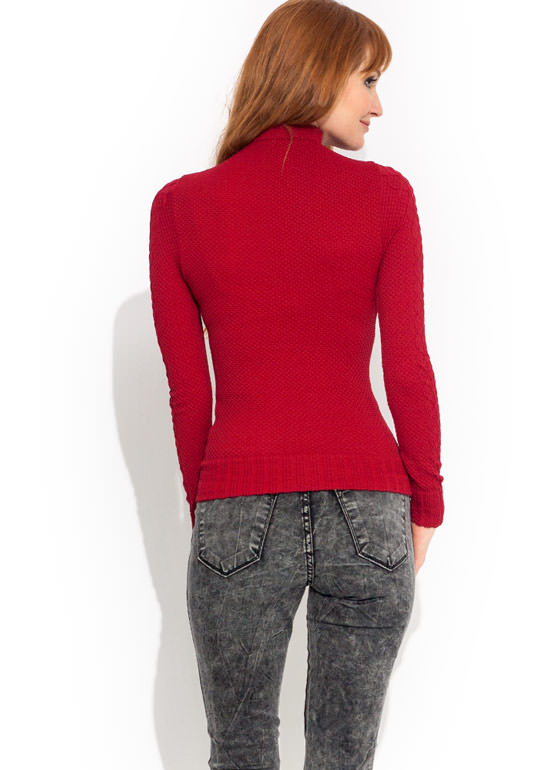 Panther Link Turtleneck Top BURGUNDY