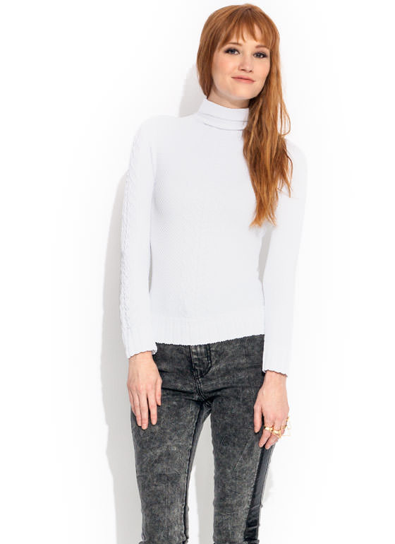 Panther Link Turtleneck Top WHITE
