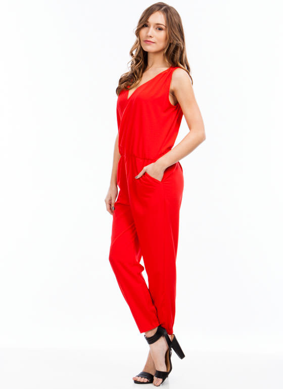 Draped Surplice Jumpsuit RED