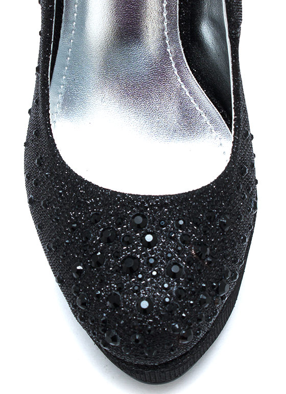 Metallic Bubble Glitter Pumps BLACK