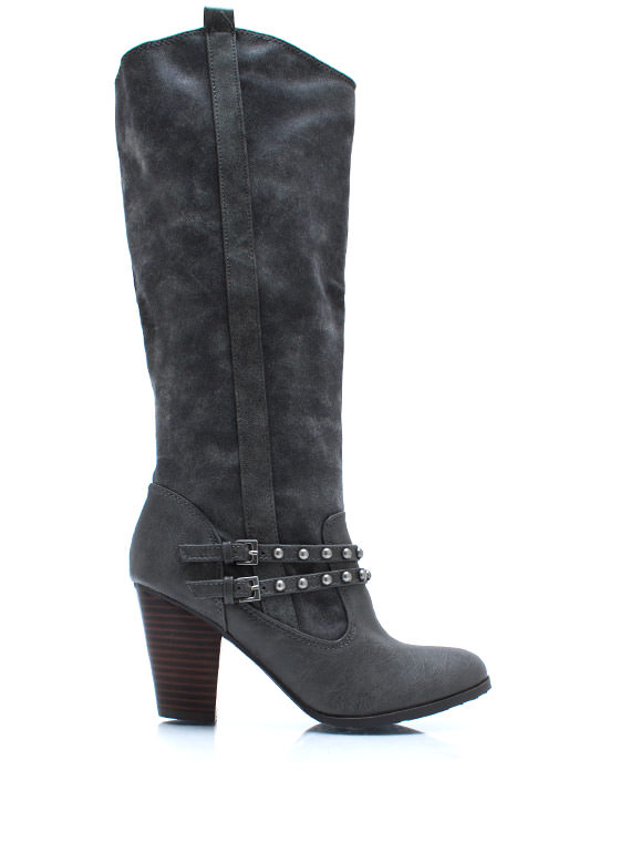 Head West Studded Cowgirl Boots GREY