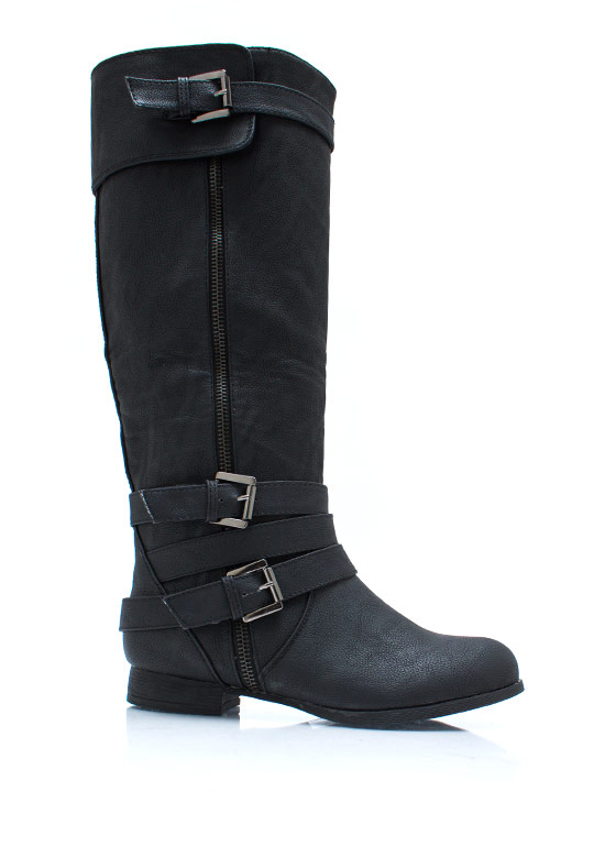 Around The Top Strappy Boots BLACK