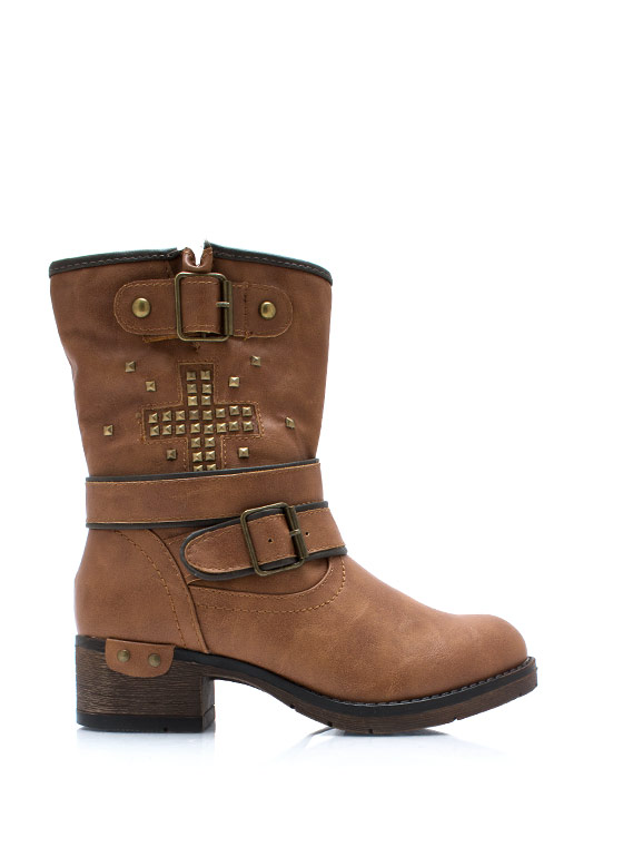 Plus One Studded Strappy Boots WHISKY