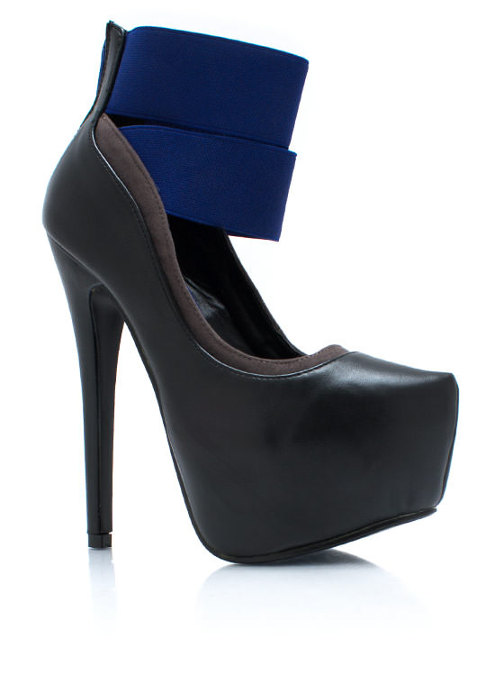 Point The Way Strappy Heels BLACK