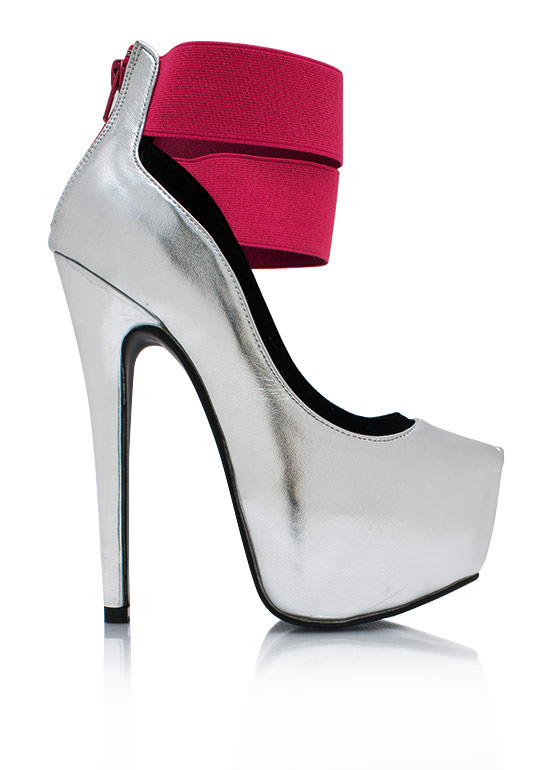 Point The Way Strappy Heels SILVER