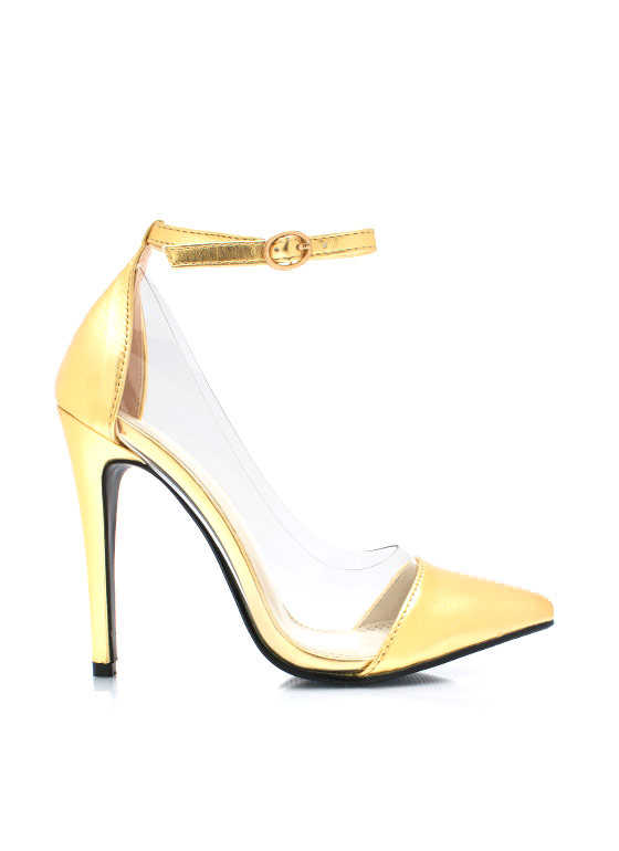 Clear The Way Pointy Pumps GOLD