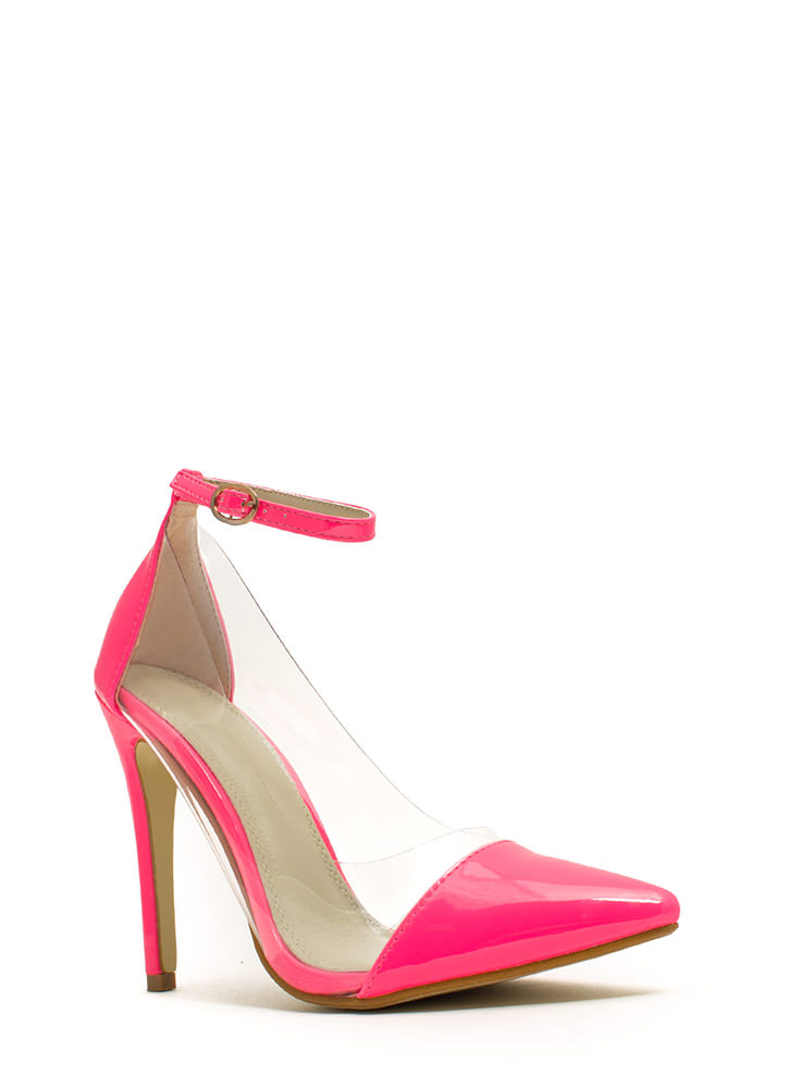 Clear The Way Pointy Pumps NEONPINK