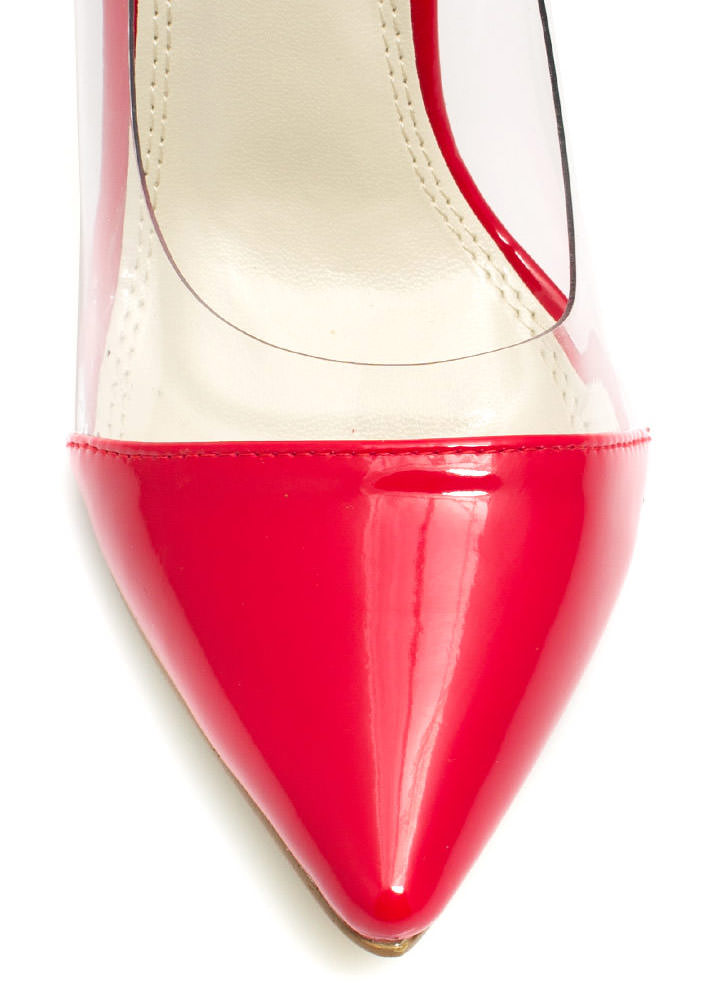 Clear The Way Pointy Pumps RED