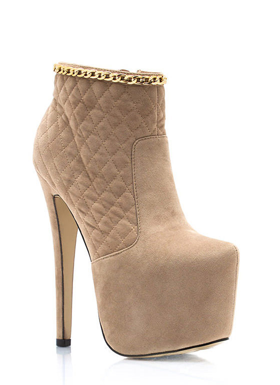 Quilty Chain Platform Booties TAUPE