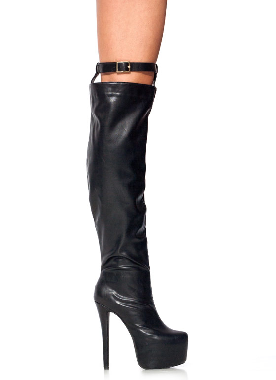Thigh High Platform Boots BLACK