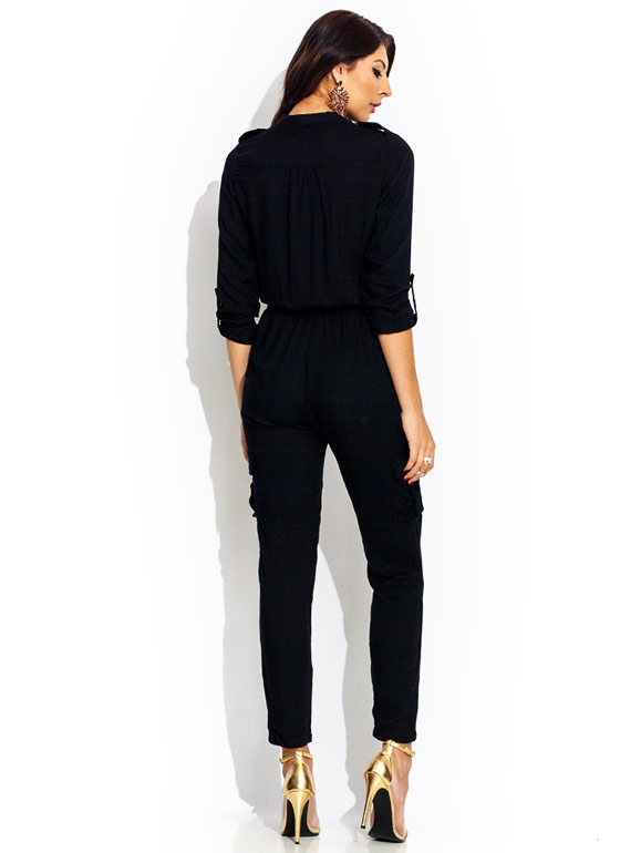 Precious Cargo Zip Up Jumpsuit BLACK