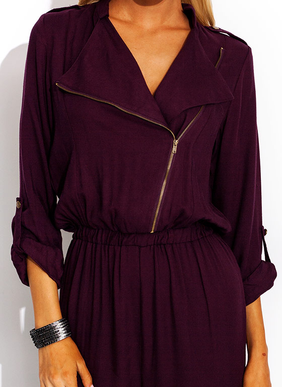 Precious Cargo Zip Up Jumpsuit PLUM