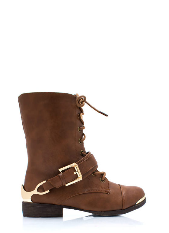 Spur It Up Metal Combat Boots CAMEL