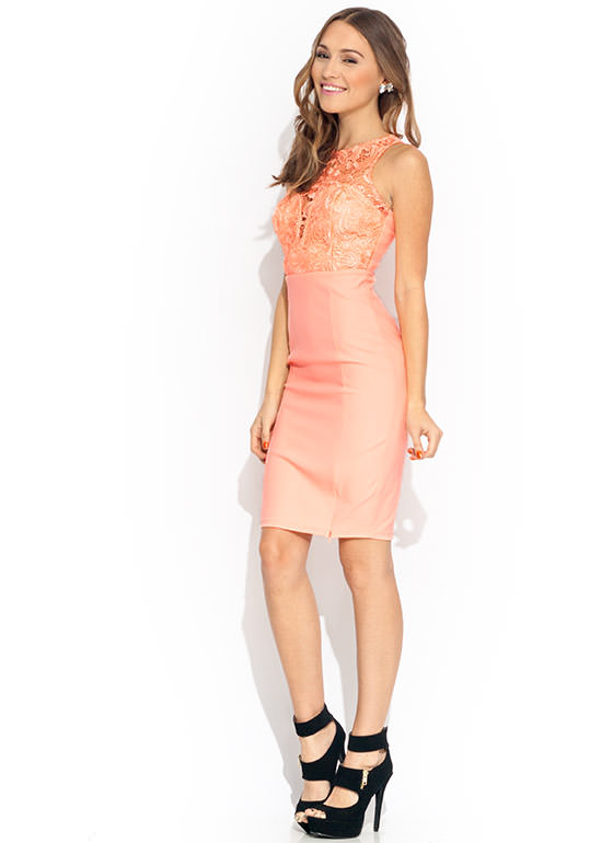Hey Crochet Pencil Dress PEACH