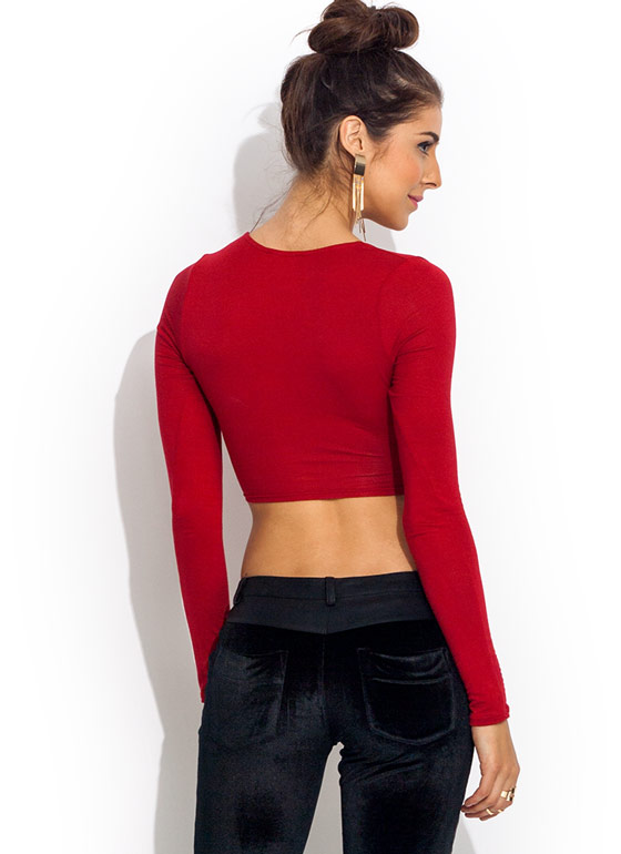 X Appeal Crossover Cropped Top RED