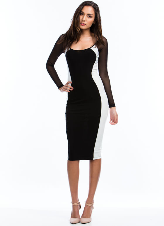 Hourglass Figure Midi Dress IVORYBLACK
