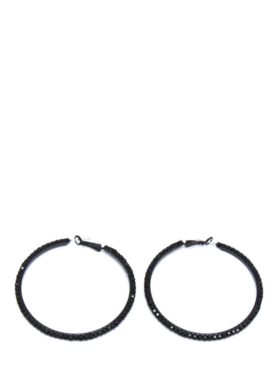 Jewel Belt Hoop Earrings BLACK