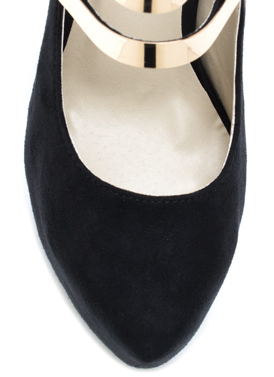 Double Strap Mary Jane Pumps BLACK