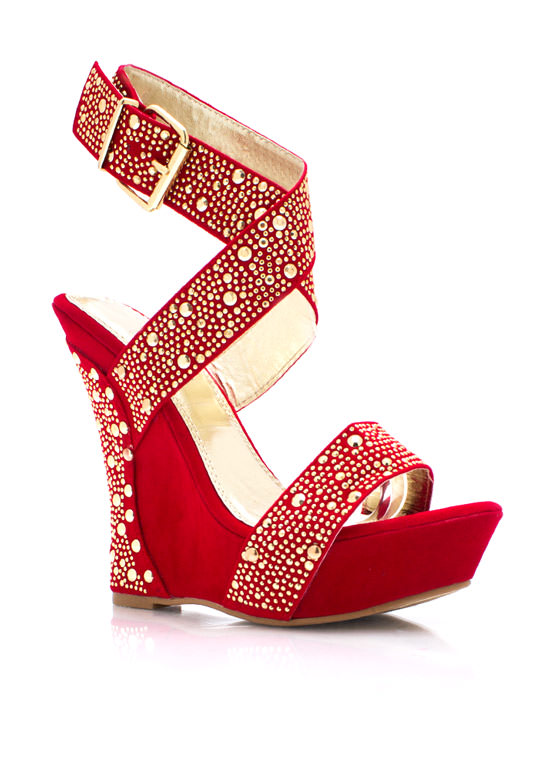 Studly Strappy Wedges RED