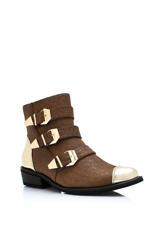 Metallic Ostrich Buckle Boots BROWN