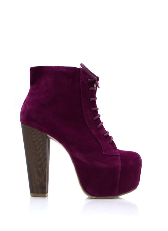 You Wood Chunky Booties PLUM