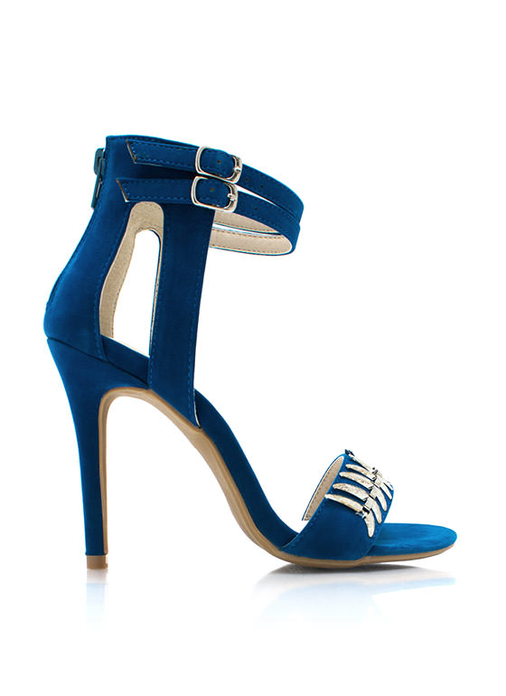 Tusk To Dawn Ankle Strap Heels TEAL