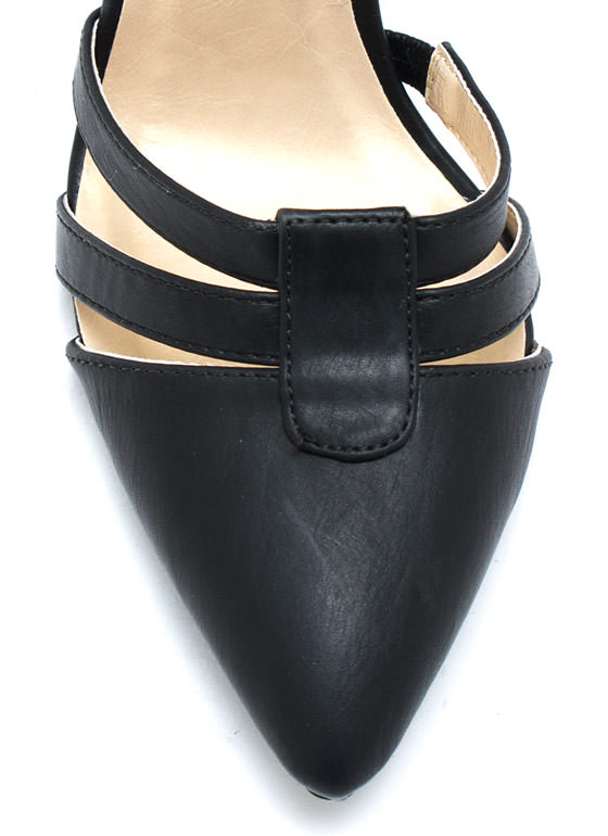 Made Your Point Strappy Heels BLACK