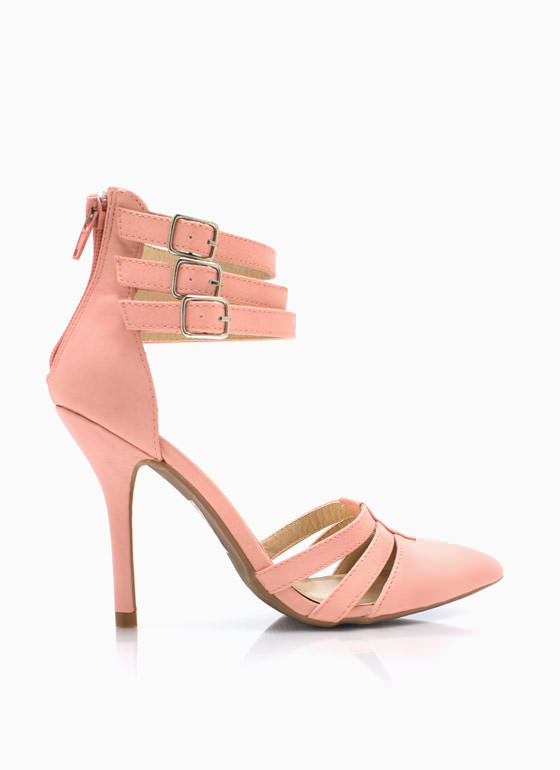 Made Your Point Strappy Heels PINK