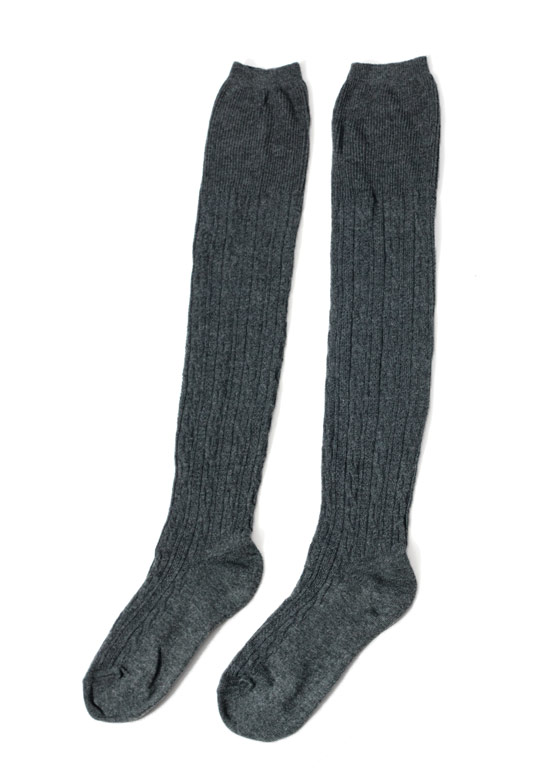 Cable Knit Thigh High Socks CHARCOAL