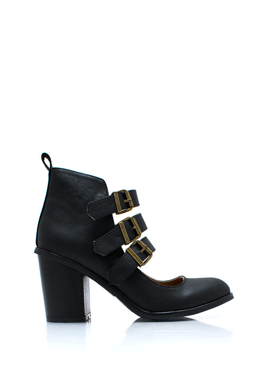 Buckle Up Cut Out Booties BLACK
