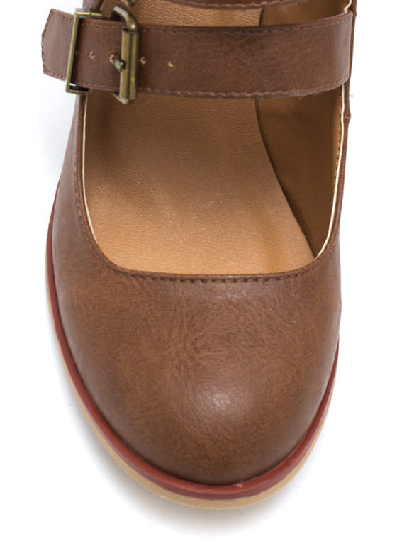 Buckle Up Cut Out Booties COGNAC