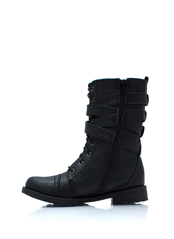 Buckled Duo Wraparound Boots BLACK