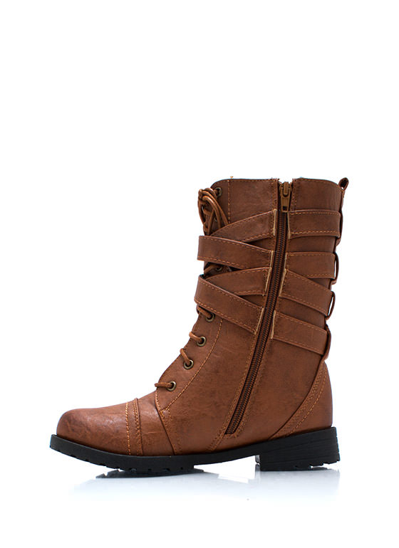 Buckled Duo Wraparound Boots WHISKY