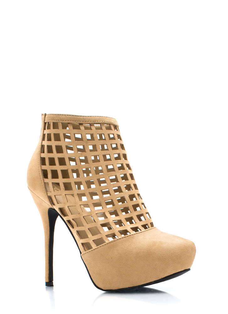 Latticed Windowpane Booties NATURAL