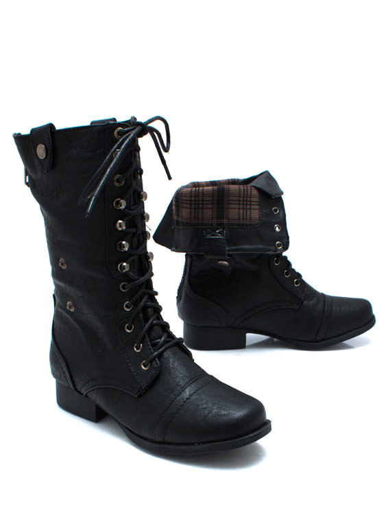 Button Down Combat Boots BLACK